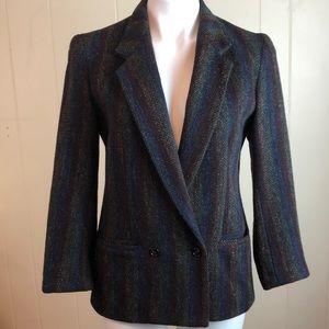 Vintage 70s/80s Wool Rainbow Herringbone Blazer